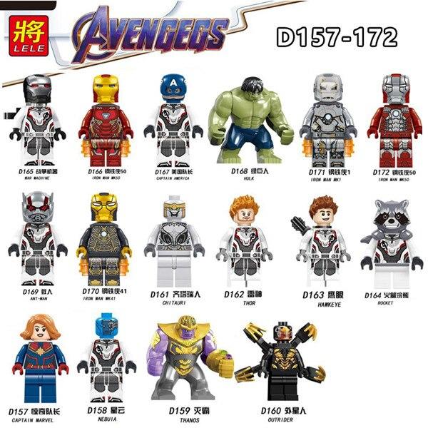Oyuncaklar ve Hobi Ürünleri'ten Bloklar'de 2019 Avengers 4 Endgame 80 adet/grup Uyumlu Model Demir Adam Örümcek Adam Yapı Taşları çocuk oyuncakları D157 D172'da  Grup 1