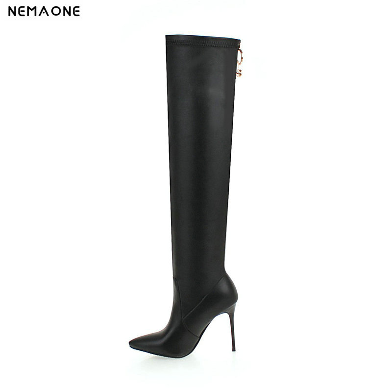 NEMAONE High Quality Plus Size 33-43 Black White 10CM High Heel Sexy zipper Over The Knee Thigh High Autumn Winter Women Boots free shipping high quality cheaper price over the knee 10cm high heel women boots fashion women zipper spring winter boots