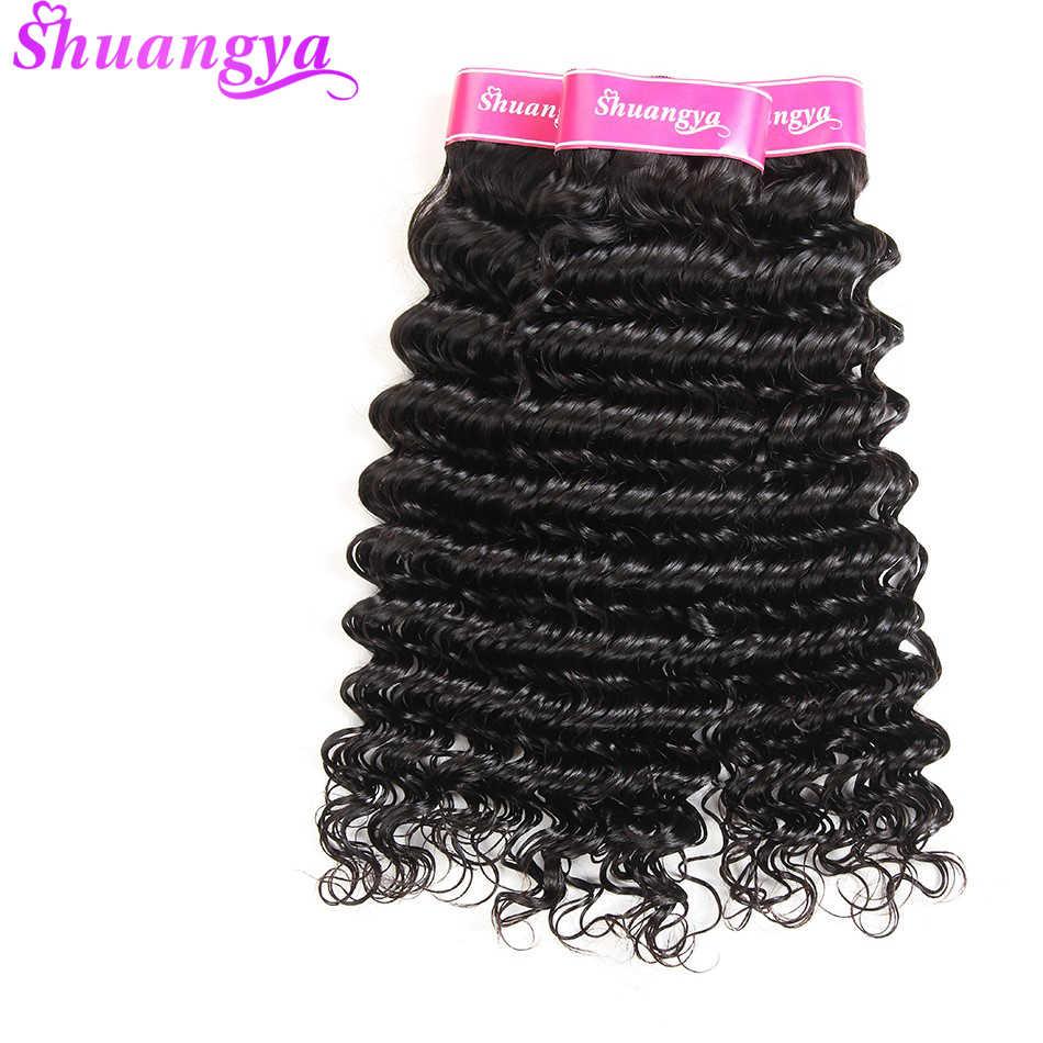Перуанский глубокая волна человеческие волосы 100% 4bundles/Lot Remy Инструменты для завивки волос натуральный Цвет Shuangya человеческих волос