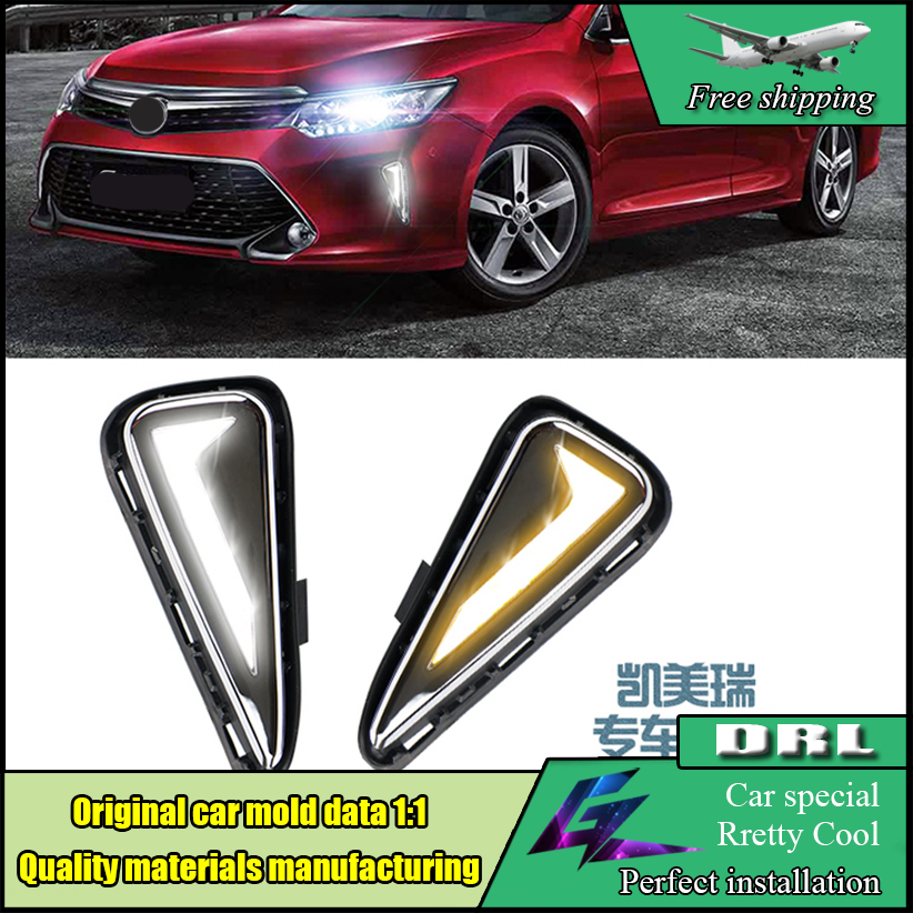 Car Styling LED DRL For Toyota Camry V55 2015 2016 With Turn Yellow Signal DRL LED Daytime Running Light Daylight dc 12v light car led fog daytime running light led drl for toyota camry 12 13 with amber turn light free shipping