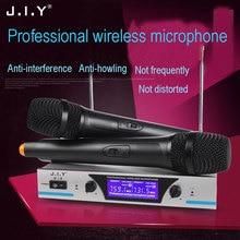 JIY Professional Wireless Microphone Dual Handheld Cordless Receiver studio microphone for meeting karaoke stage performance Mic