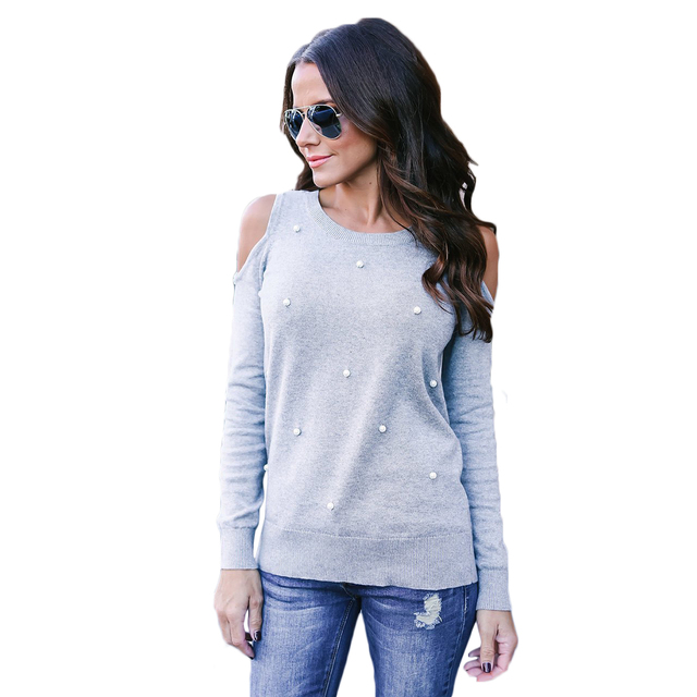 66f5ea87201dcb European Style Beading Knitted Shirts Women Long Sleeve Cold Shoulder Tops  2017 Autumn Loose Tees Sexy Ladies O-Neck Knitwear