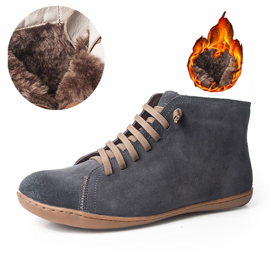 Kobiety natrual skóra owcza skórzana na co dzień buty zimowe wygodne jakości miękkie ręcznie płaskie buty niebieski żółty buty z futerkiem w Buty do kostki od Buty na  Grupa 1