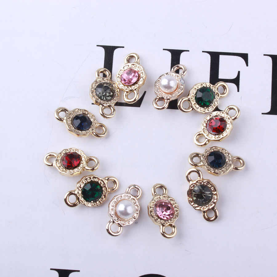 20pcs/Lot 9*16mm Gold Color Alloy Colorful Crystal/Pearl Charm Connector Charms For DIY Necklace/Bracelet Jewelry Making