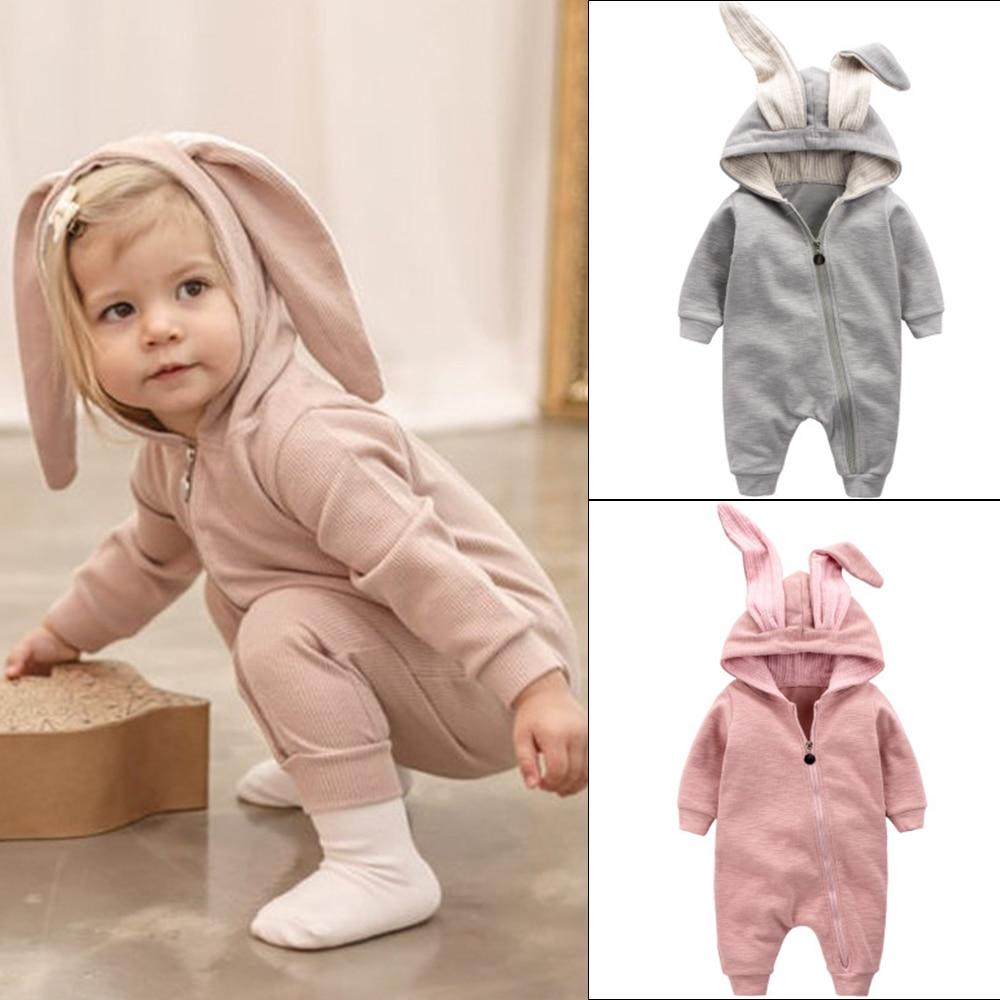 1ee03b2e5ff Spring Autumn Baby Warm Clothes Flannel Baby Boy Clothes Cartoon Animal  Rabbit Ear Romper Jumpsuit Warm