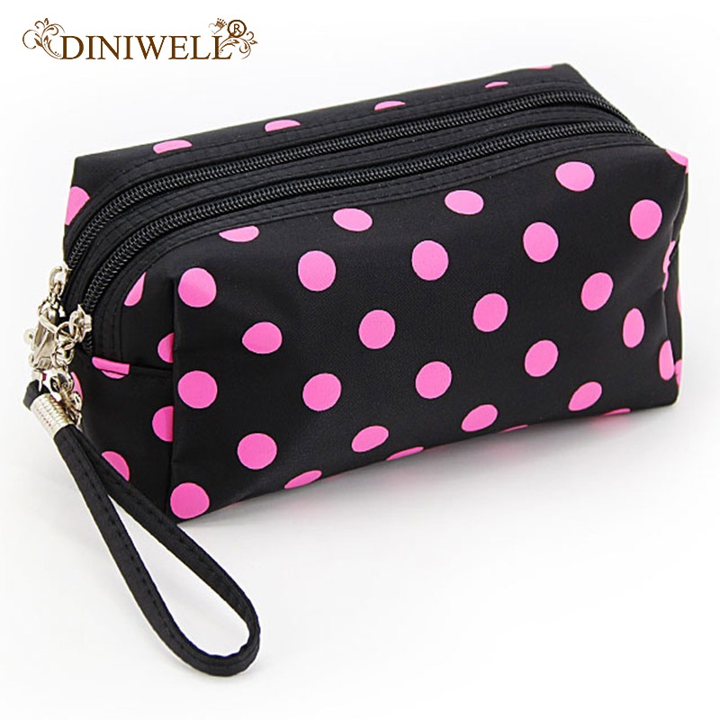 d1b2dc4ff8ca US $3.85 24% OFF|DINIWELL Dot Printed Polyester Hanging Travel Toiletry Bag  With Zipper Makeup Bags Organizer Storage Package-in Storage Bags from ...