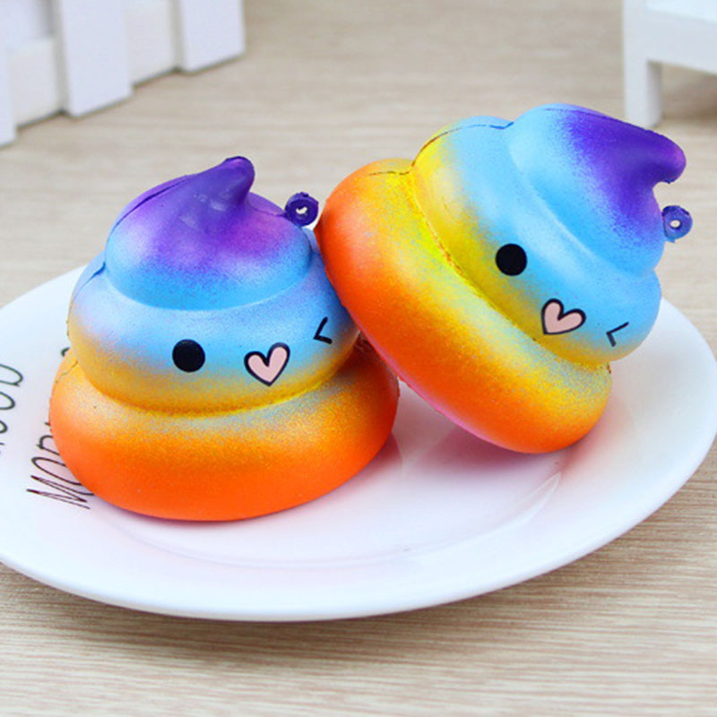 Kawaii Squishy Colorful Poo Slow Rising Soft Cream Scented Bread Cake Key Chains Straps Kid Fun Toy Gift