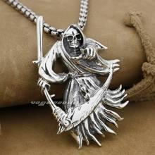 925 Sterling Silver Large Grim Reaper Scythe Death Mens Biker Pendant 9H012A(Necklace 24inch)