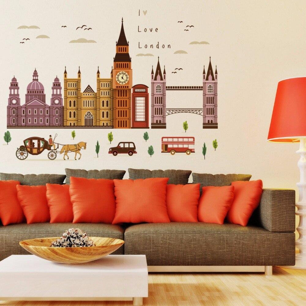 3D Wallpaper London Big Ben Car Horse Building Landscape Wall Stickers Living Room Bedroom TV Background Decoration Murals
