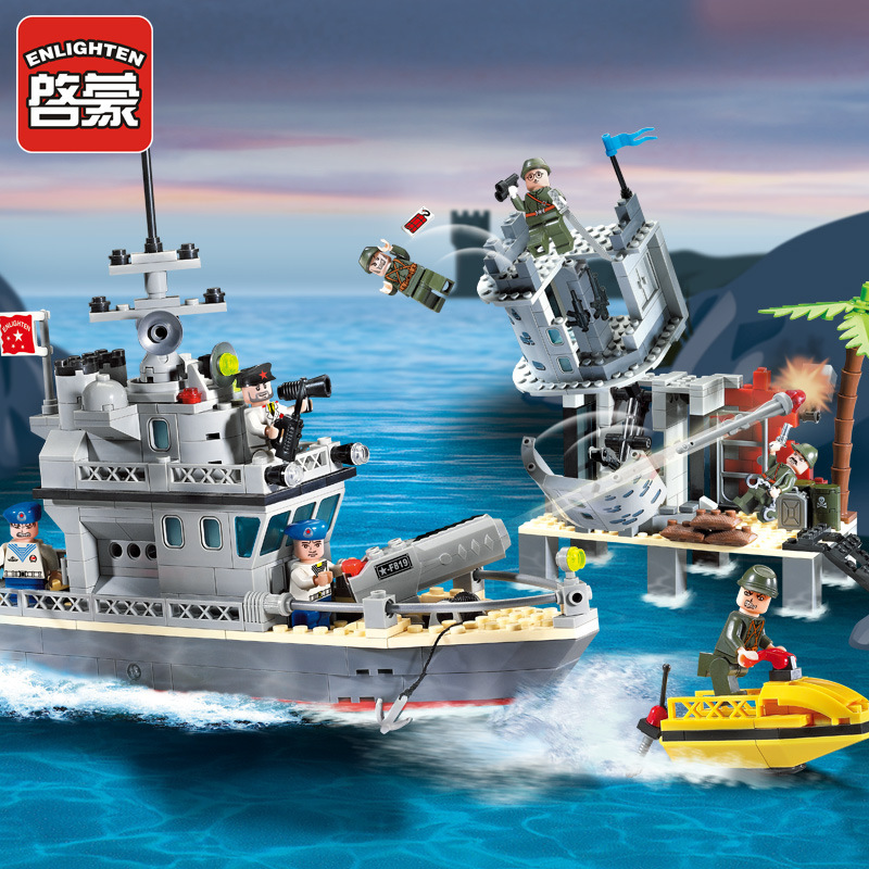 Enlighten 819 military Pirate gun battalion Fort of theisland Model Building blocks Bricks Educational toys for children конструктор enlighten brick город 111 центр спасения мчс г13594
