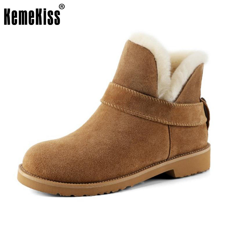KemeKiss Size 32-41 Women Real Leather Ankel Snow Boots Women High Heel Boots With Thick Fur  Winter Shoes For Women Footwears