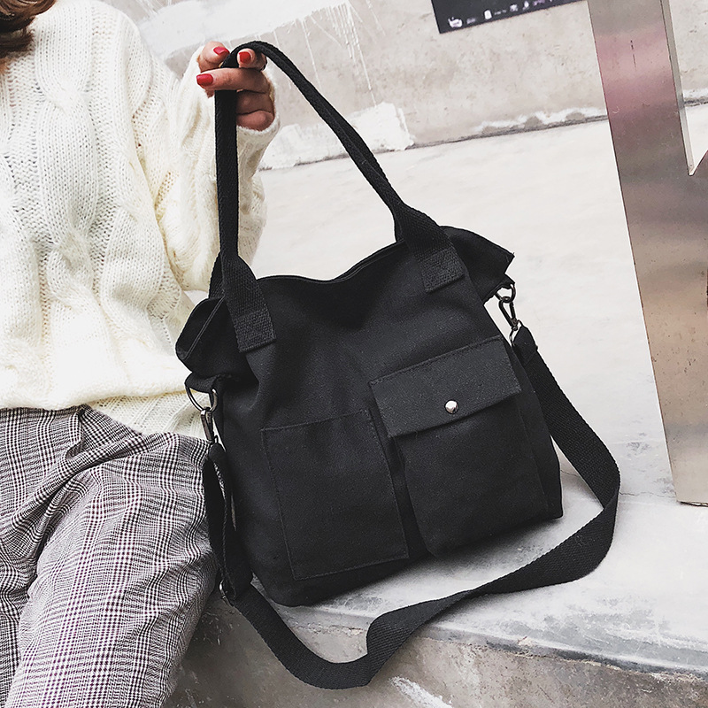 Canvas Big Bag Tot Female Commuter Bag Literary Student Retro Casual Woman Large Capacity Shoulder Bag Solid Color Shopping LadyCanvas Big Bag Tot Female Commuter Bag Literary Student Retro Casual Woman Large Capacity Shoulder Bag Solid Color Shopping Lady