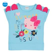 JUXINSU Summer Cotton Girls Short Sleeve T-shirt Cute Cartoon Cat Embroidered Tshirt Tees for Baby Girl 1-7 Years Kids Clothing