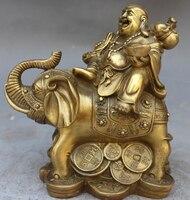 006632 Chinese Buddhism Bronze Brass Wealth Auspicious Elephant Maitreya buddha Statue
