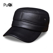 HL087 Men's genuine leather baseball cap brand new Russian warm military real  leather caps hats men genuine leather cowskin cap 100% leather russian winter warm baseball solid color fashion hats cs113