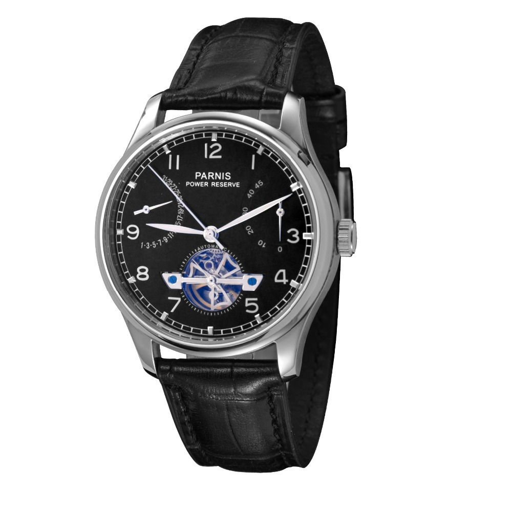 43mm Parnis Wristwatches Power Reserve Black Dial Automatic Men's Watch PA4350SB power reserve 1x