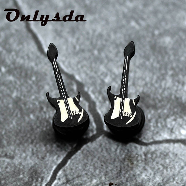 Onlysda personality Punk black guitar earrings earrings for man black hypoallergenic titanium steel boy friend party.jpg 640x640 - Onlysda personality Punk black guitar earrings earrings for man black hypoallergenic titanium steel boy friend party gift ES081