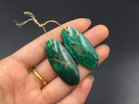 Drilled Malachite Earring Pair Natural Green Malachite And Pyrite Gemstone Cabochon Oval Matched Eearring Pendant Beads