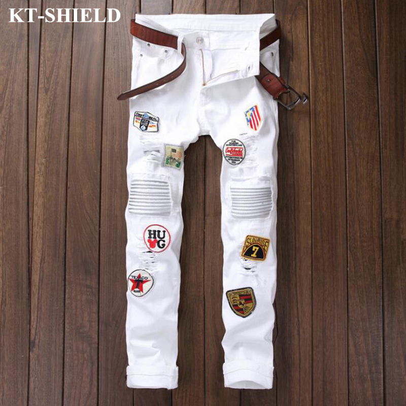 New Brand White Jeans Men Cotton Fashion Denim Pants Print Vaqueros Hombre Casual Male Harem Pants
