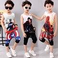 Crianças 3-11 Verão Conjuntos de Roupas Meninos Roupas de Algodão Meninos Capitão América em 3d T-shirt + Calças Do Bebê menino Roupas Ternos Do Esporte 2017