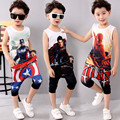 Kids 3-11 Summer Clothes Boys Cotton Captain America Clothing Sets Boys 3d T-shirt+ Pants Baby Boy Clothes Sport Suits 2017