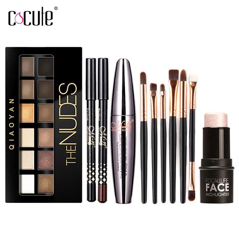 Cocute Make-Up Tool Kit 4 stücke Einschließlich Make-Up Pinsel Lidschatten Augenbrauen Stift Mascara und Highlighter Shimmer Stick für mädchen geschenk
