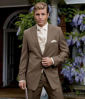 2016 New Custom Made Fashion Hnadmade Dark Khaki Men Slim Suits Tuxedo Bridegroom Wedding Suits Formal Party Suits