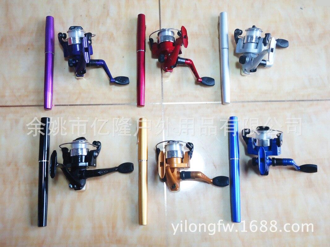 2018 Good Quality Portable Pocket Telescopic Mini Fishing Pole Pen Shape Folded Fishing Rod with Reel Wheel Drop Shipping