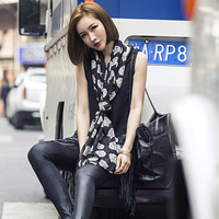 The New Chiffon Scarves Super Long Tiger Head Scarf Europe Women S Fashion Printing Dual Use