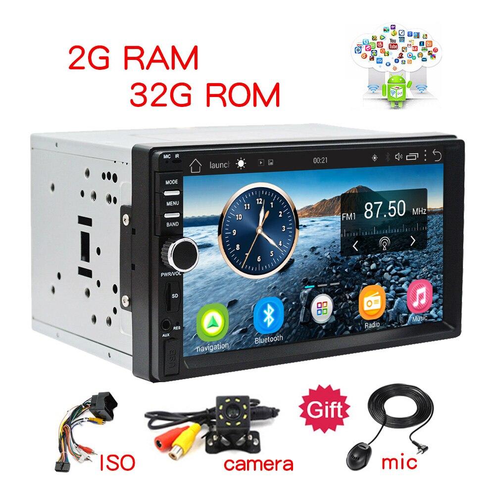 2Din voiture stéréo GPS 2G + 32G voiture lecteur multimédia Android Bluetooth musique Audio vidéo WiFi 7 pouces écran tactile SD USB ISO cam mic