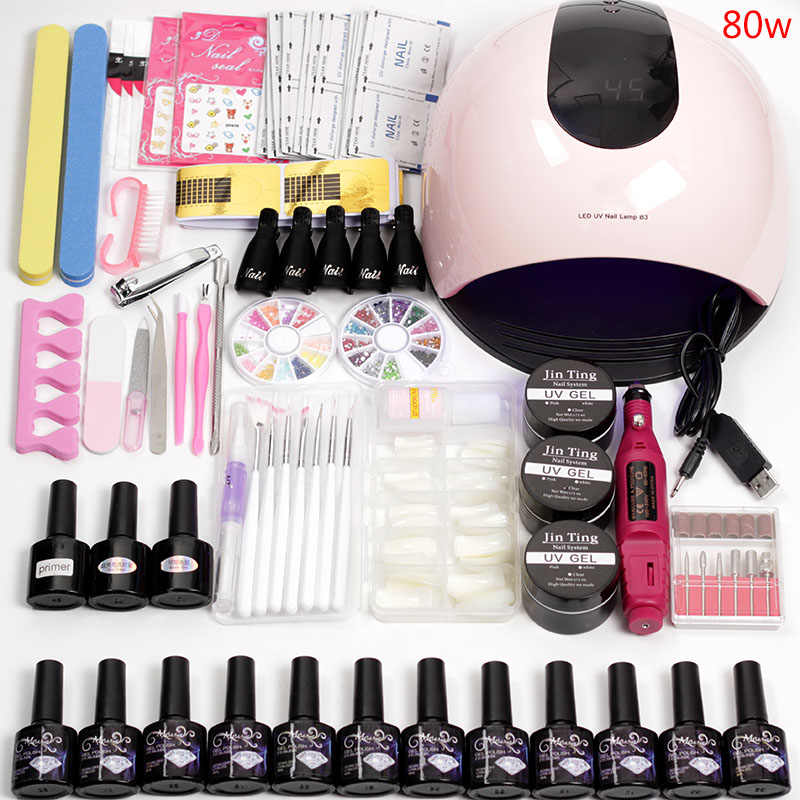 20000 RPM Elektrische Nail Manicure Machine Nail Extension Kit 36 w/48 w/80 w Uv Nail Lamp met 12 Kleur Gel Vernis Nail art Set
