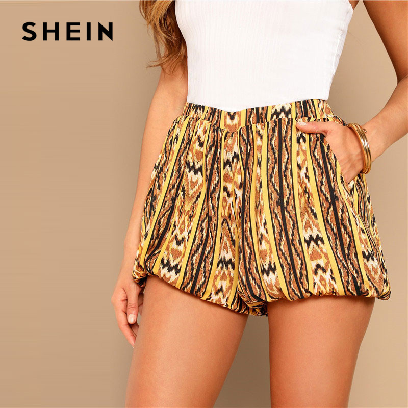 SHEIN Multicolor Tribal Print Balloon Elastic Waist   Shorts   Summer High Street Casual Mid Waist Loose Pocket Women   Shorts