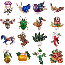 Эмалированные броши в виде животных, пчелы, утки, совы, птиц, растений, насекомых, брошь на булавке, украшения для банкета, рождественские подарки, аксессуары, ювелирные изделия