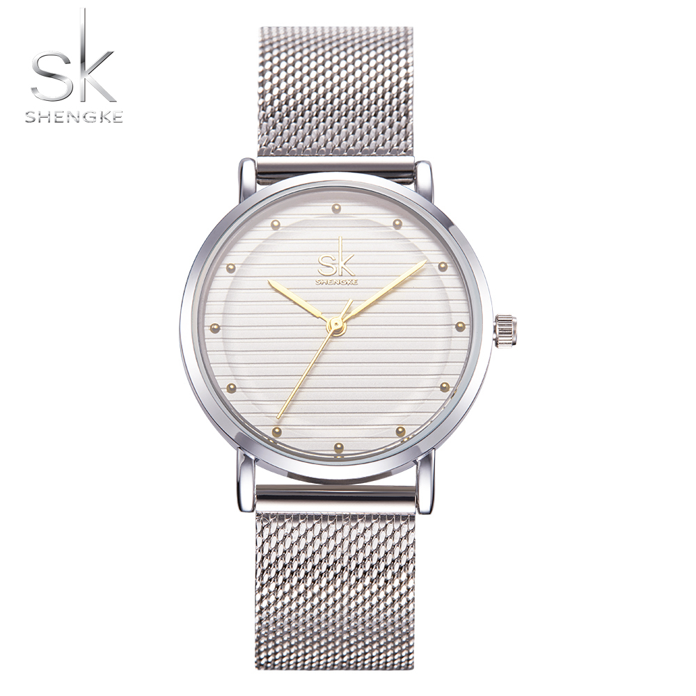 SK Top Luxury Brand Fashion Womens Watches Clock Women Steel Mesh Strap Rose Gold Bracelet Quartz Watch Reloj Mujer 2018 New Hot geneva brand fashion rose gold quartz watch luxury rhinestone watch women watches full steel watch hour montre homme reloj mujer