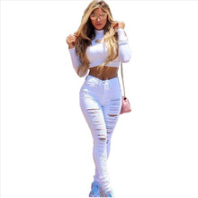 Fashion Ripped Jeans High Waist Skinny Jeans Stretchy Destroyed Women Pants Trousers Sexy Hole Jeans Woman White Pencil Jean