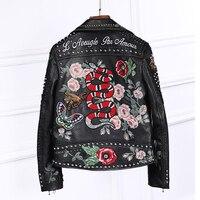 100% высокое качество женская кожаная куртка Вышивка локомотив кожаная куртка ручной работы 200 заклепки пальто цветы Птица узор верхняя одеж