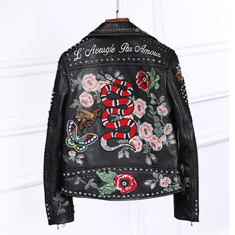 100%high quality women   leather   jacket embroidery locomotive   leather   jacket handmade 200 rivet coat Flowers bird pattern outwear