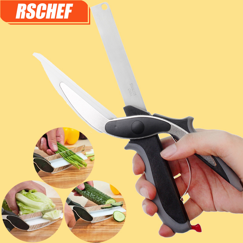 RSCHEF 1 pcs NEW 2 in 1 utility cutter knife&board stainless steel cutter Meat Potato cheese vegetable clever cutter
