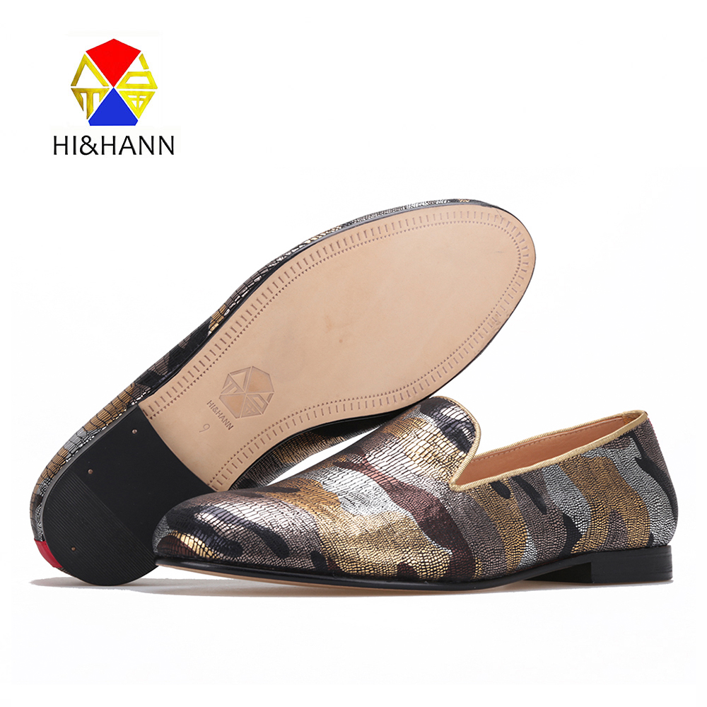 2017 luxurious gold camouflage men Handmade shoes Genuine leather insole and bottom British style smoking slipper male's loafers 2017 new arrival comfortable genuine leather bottom and insole men loafers colourful banquet men handmade shoes party male flats