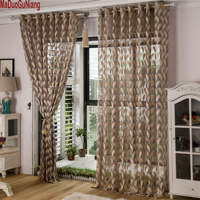 White Solid Color Sheer Curtains For Living Room Modern Feather