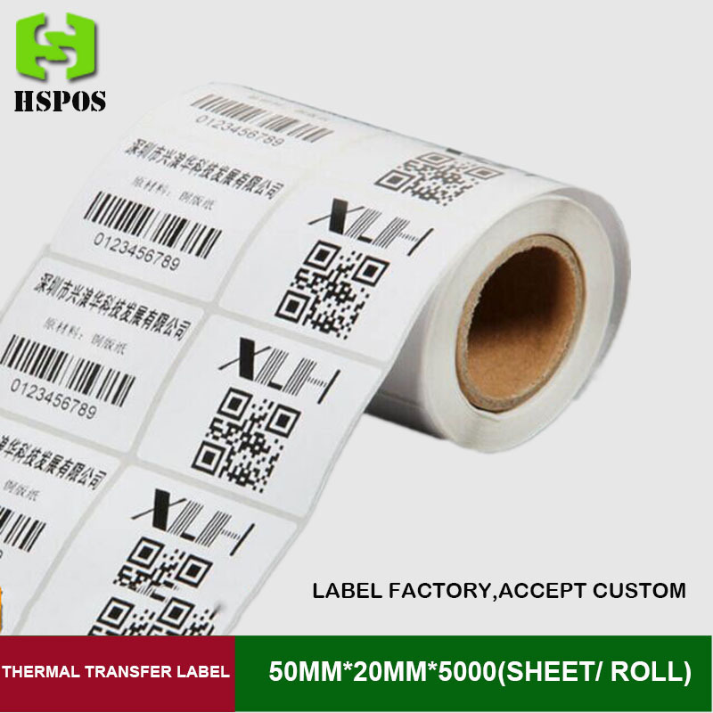 Transfer label stickers 50x20mmx5000sheets one roll double row barcode labels can custom logo wholesale with a favorable price address adhesive stickers labels 100 100mm 500 sheets thermal papers for labeling and sealing marks wholesale with a good price