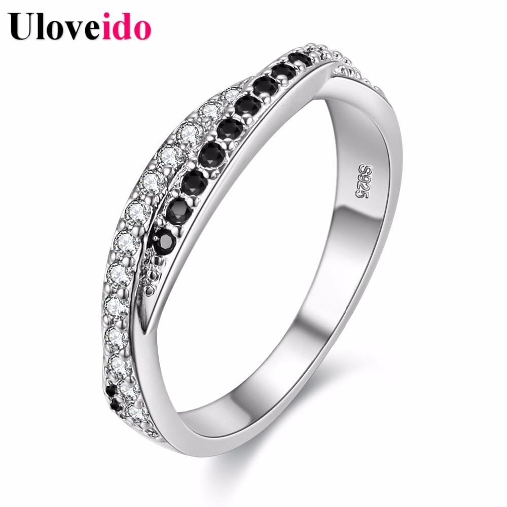 50% de descuento Anillos de boda de las mujeres para las mujeres de color plata negro cristal blanco anillo regalo de los amantes de la joyería Anel femenino al por mayor Y022