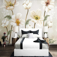 Retro nostalgic European pastoral rustic hand painted floral background wall paper