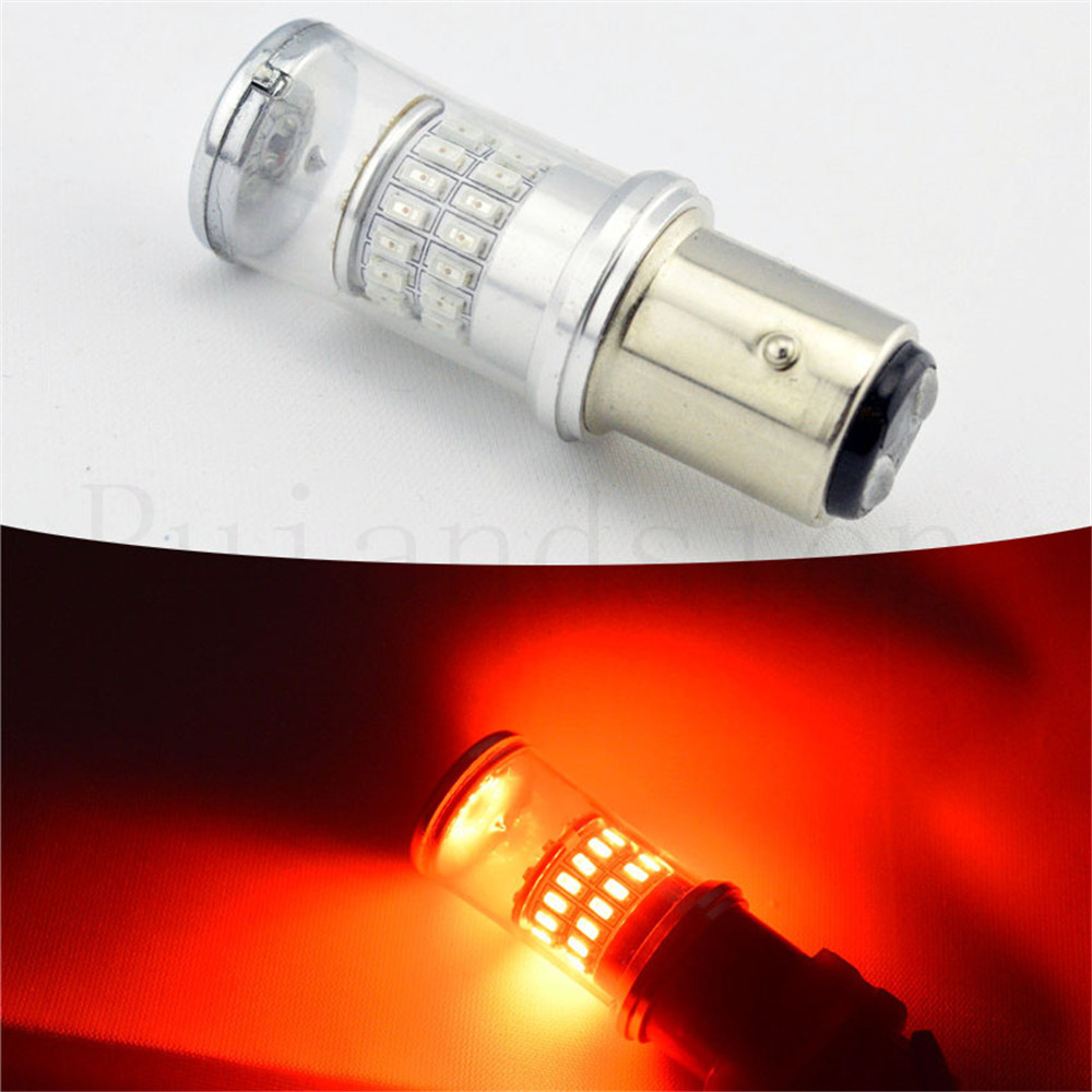 2шт 12В 24В 48SMD s25 обратные 1157 ва 15d BAY15D P21/5 Вт BAZ15D Р21/4W лампы Автомобильные светодиодные Двойная функция красный цвет 440mA