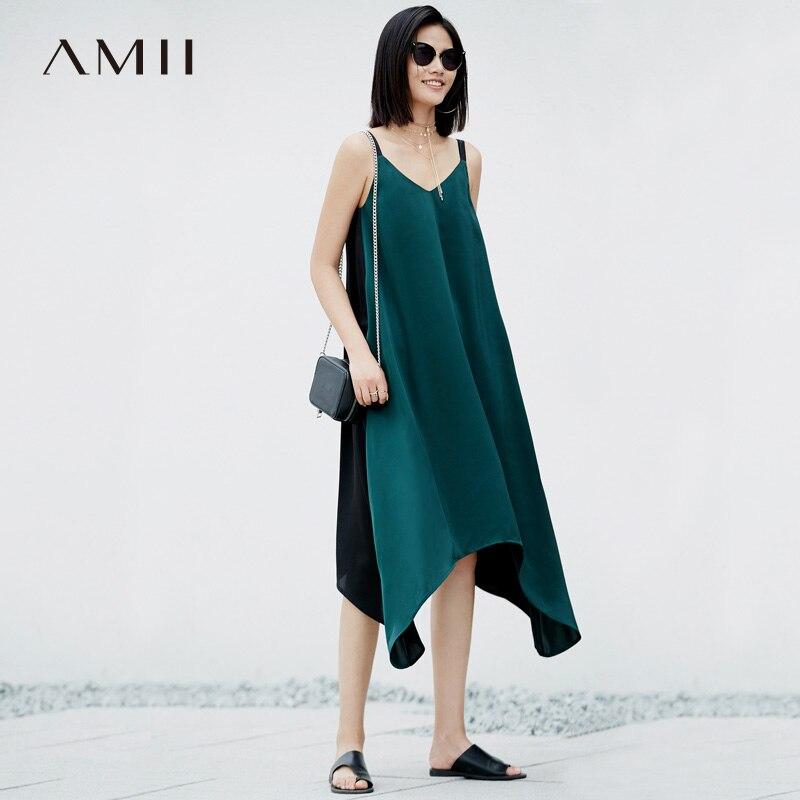 Amii Women Minimalist Summer Dress 2018 Asymmetric Patchwork Spaghetti Strap V Neck Female Dresses