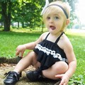 2016 The summer children lovely neck hung black suit The baby suit condole belt + shorts