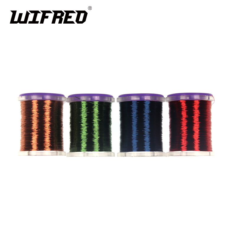 Wifreo 0.1mm Super Fine Spooled Fly Tying Copper Wire Round Metal Thread for Larve Nymph Midge Streamer Flies Tying wifreo 11cm 1 stainless micro tip fly tying scissors sharp