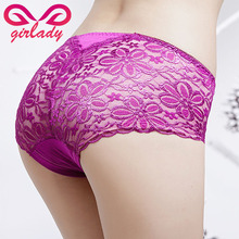 GIRLADY Sexy Women Lace Briefs XL L M Size Modal Panties Female Mid Waist Spandex Hollow Out Transparent Underwear Intimates