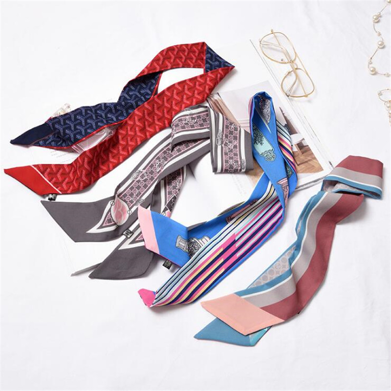 2019 Women Small Silk Scarf Horse Carrige Chain Print Floral Geometric Handle Bag Ribbon Long Scarves Neck Headwear Wrap Ties