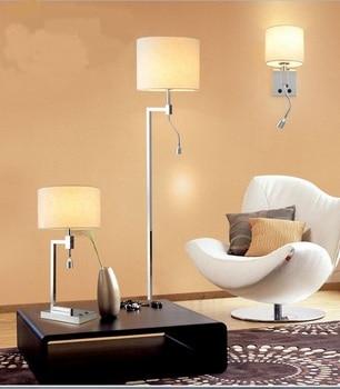 Simple fabric floor lamp shade Modern minimalist wall and table light steel lamp LED living room bedroom hotel rooms light FG522